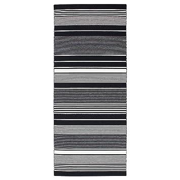 Amazon De Ikea Asia Veslos Teppich Flachgewebt Schwarz Weiß Gestreift