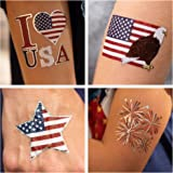 24 Patriotic Temporary Tattoos   4th of July Party Supplies   USA Party Favors and Fourth of July Party Decorations   Metalli