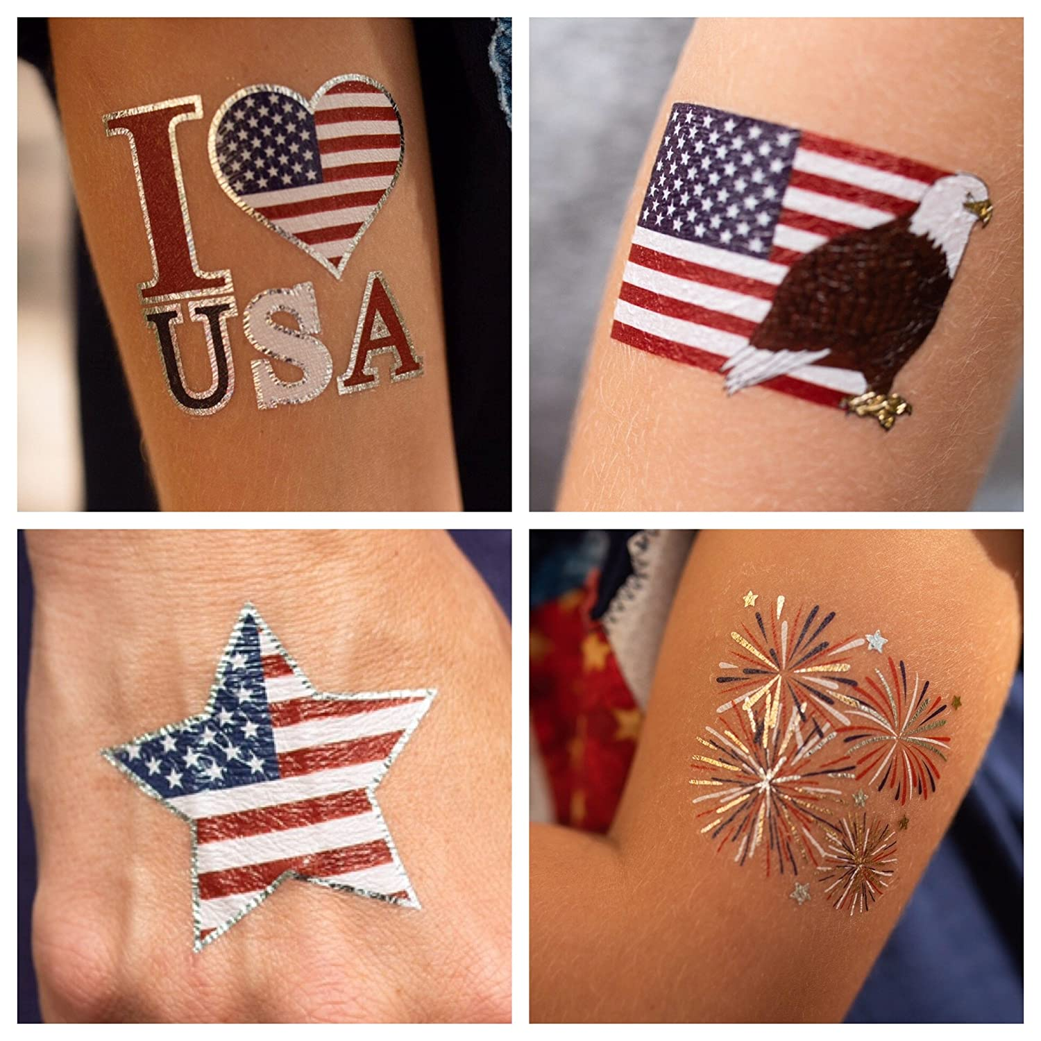 24 Patriotic Temporary Tattoos Best for 4th of July Party Supplies, USA Party Favors and Fourth of July Party Decorations - Metallic American Flag Red White and Blue Fake Tattoos for The Whole Family