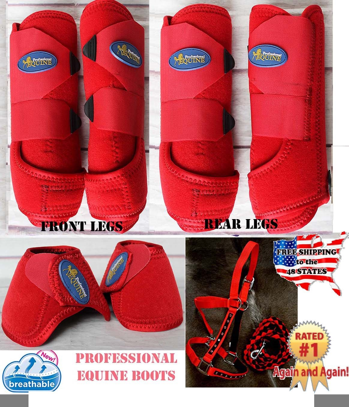 Horse Professional Equine Sports Medicine Splint Boots Bell Boot Tack Red 41RDA by Professional Equine (Image #1)