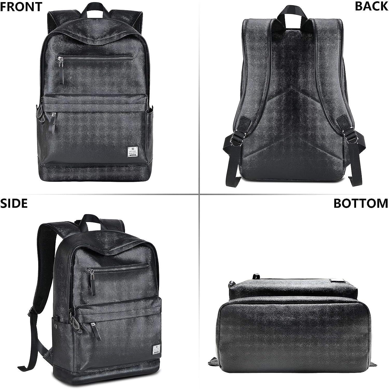 Black Leather Laptop Backpack for Men School College Bookbag for Women Student Rucksack