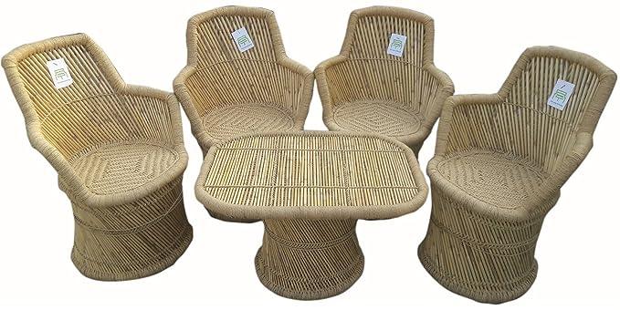 Ecowoodies Ajuga Sitting Garden Furniture Set - (Beige: 4 Chairs +1 Table)