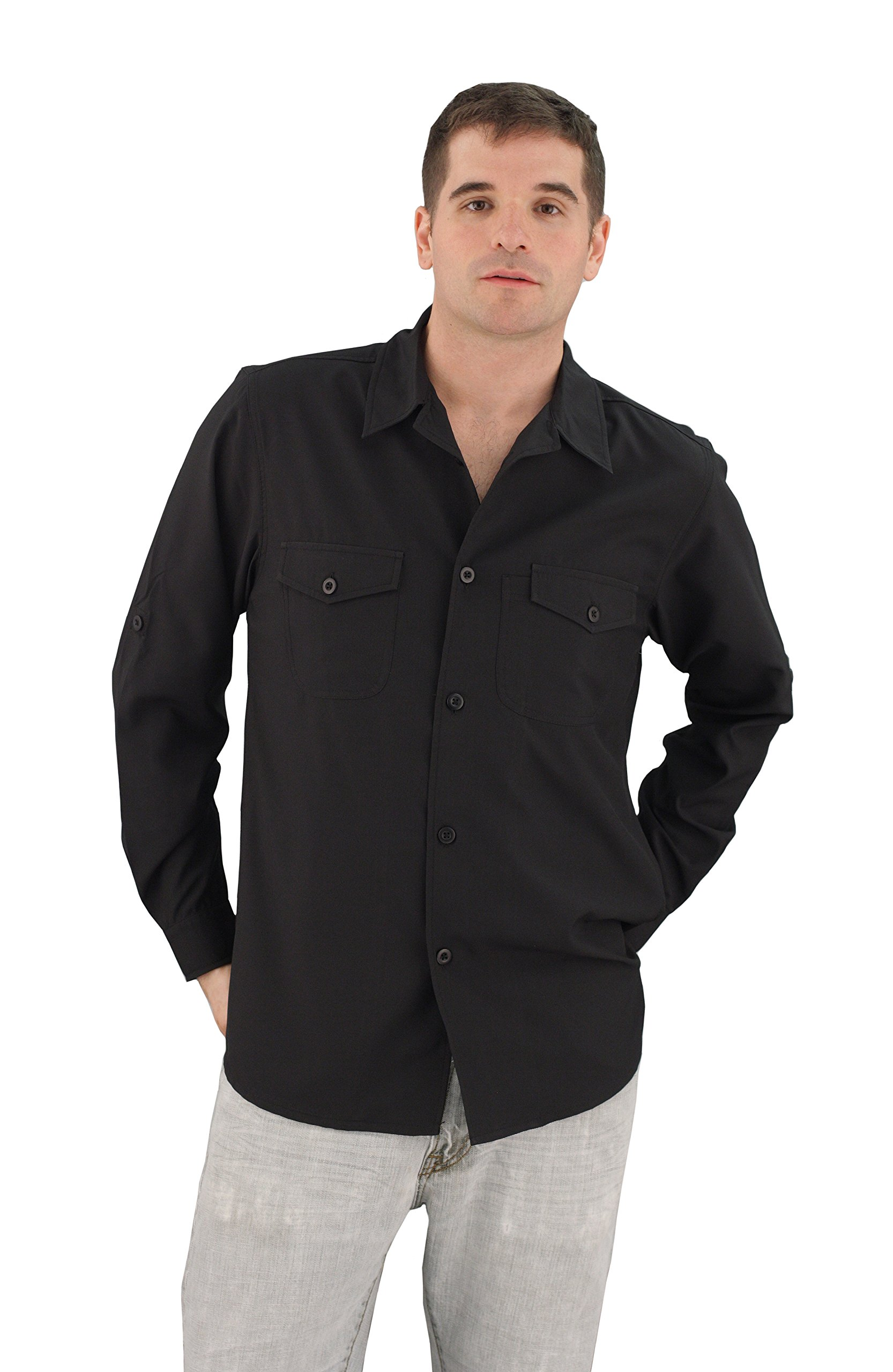 ASD Living Zanzibar Long Sleeve Dry Fit Server Waitstaff Shirt, Small, Black by ASD Living