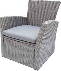C-Hopetree Single Sofa Lounge Chair for All Weather Outdoor use with Hand Woven Gray Wicker and Charcoal Cushion