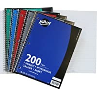 Hilroy Coil 1-subject Wide Ruled Notebook, 10.5 X 8 Inches, 3 Hole Punched, 200 Pages (100 Sheets), 1 Notebook, Color May Vary (13224)
