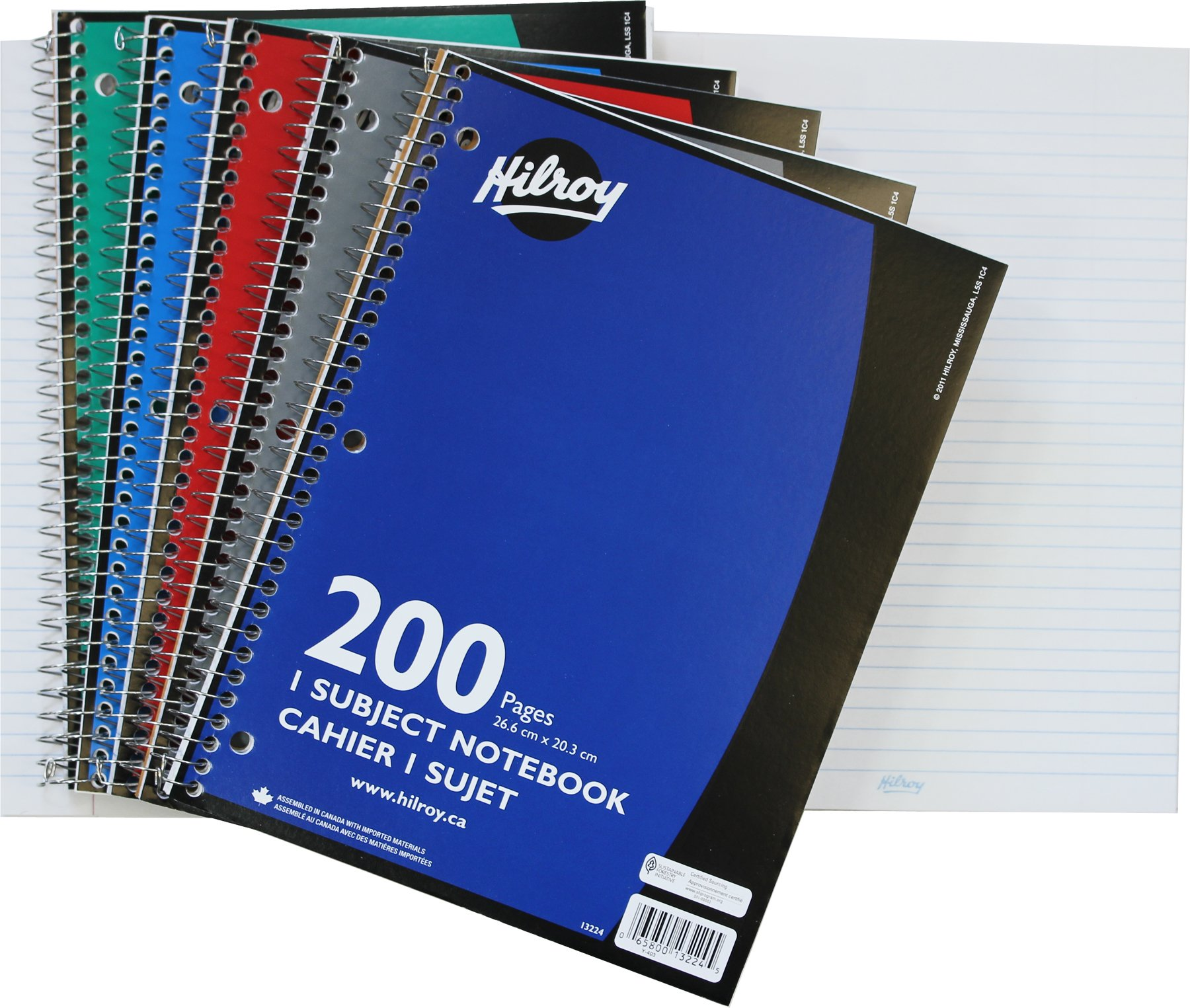 Hilroy Coil 1-subject Wide Ruled Notebook, 10.5 X 8 Inches, 3 Hole Punched, 100 Sheets (200 Pages), 1 Notebook, Color May Vary (13224) product image