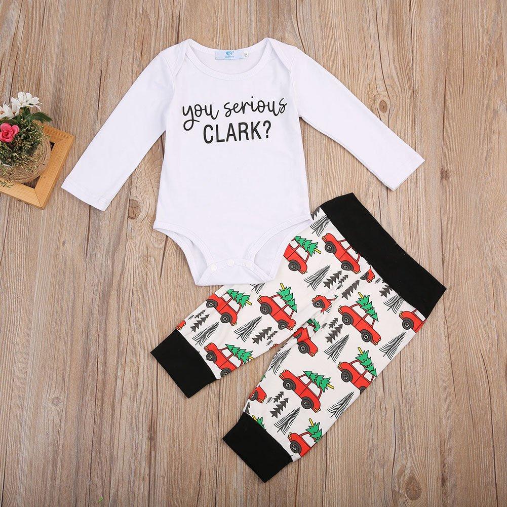 26da074399bc Amazon.com  Christmas Newborn Infant Baby Boy Girl Clothes Romper Tops  +Long Pants Outfit 2Pcs Set  Clothing