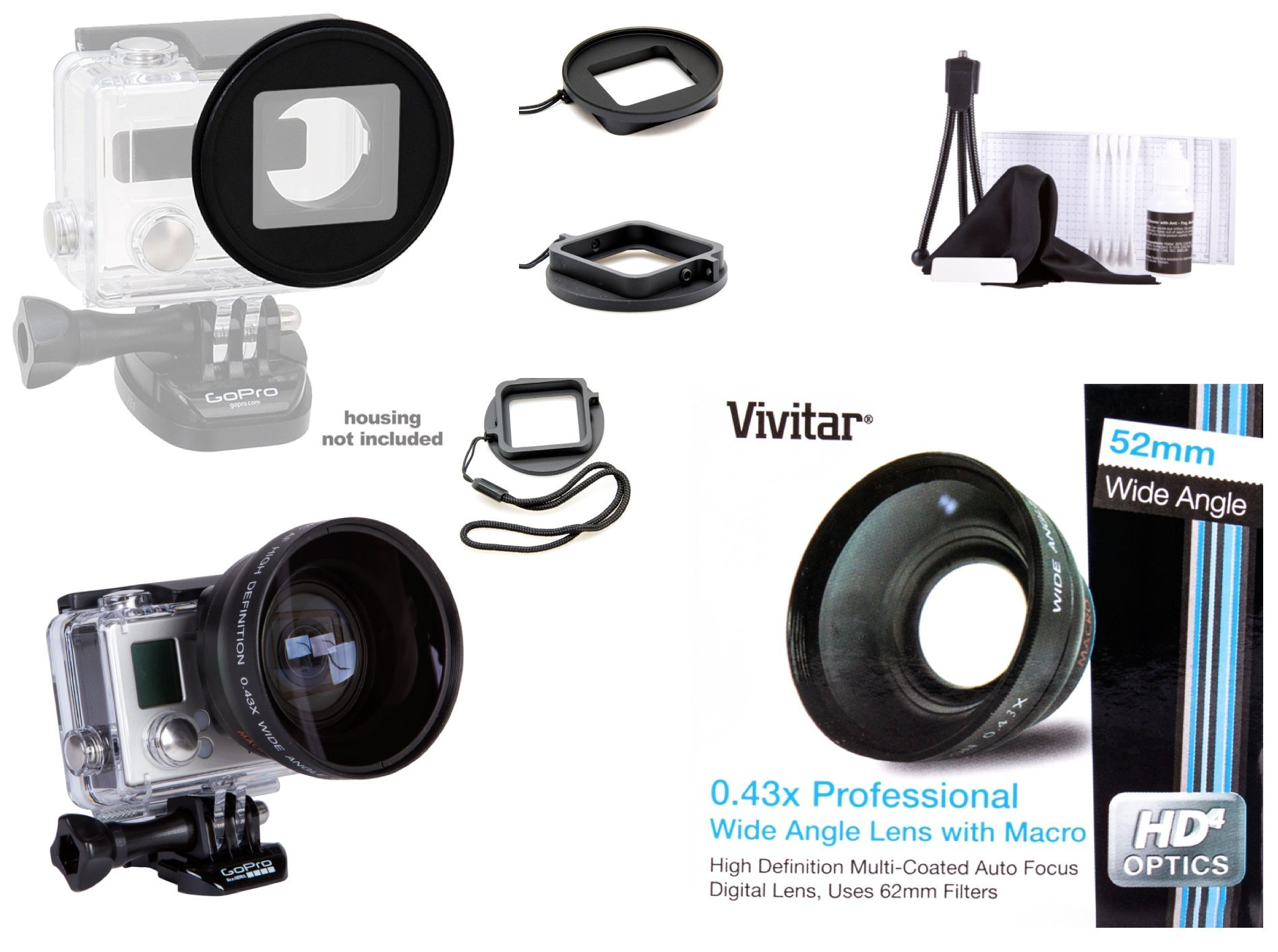 Vivitar 52mm Ring Filter Adapter for GoPro HERO3/ HERO3+/ HERO4 + 52mm Vivitar Professional HD .43x Wide Angle Lens with Macro (MPN: V-52W)