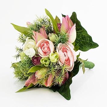 Amazon De Deko Ranunkelstrauss Mit Tulpen Rosa Weiss 30cm Deko