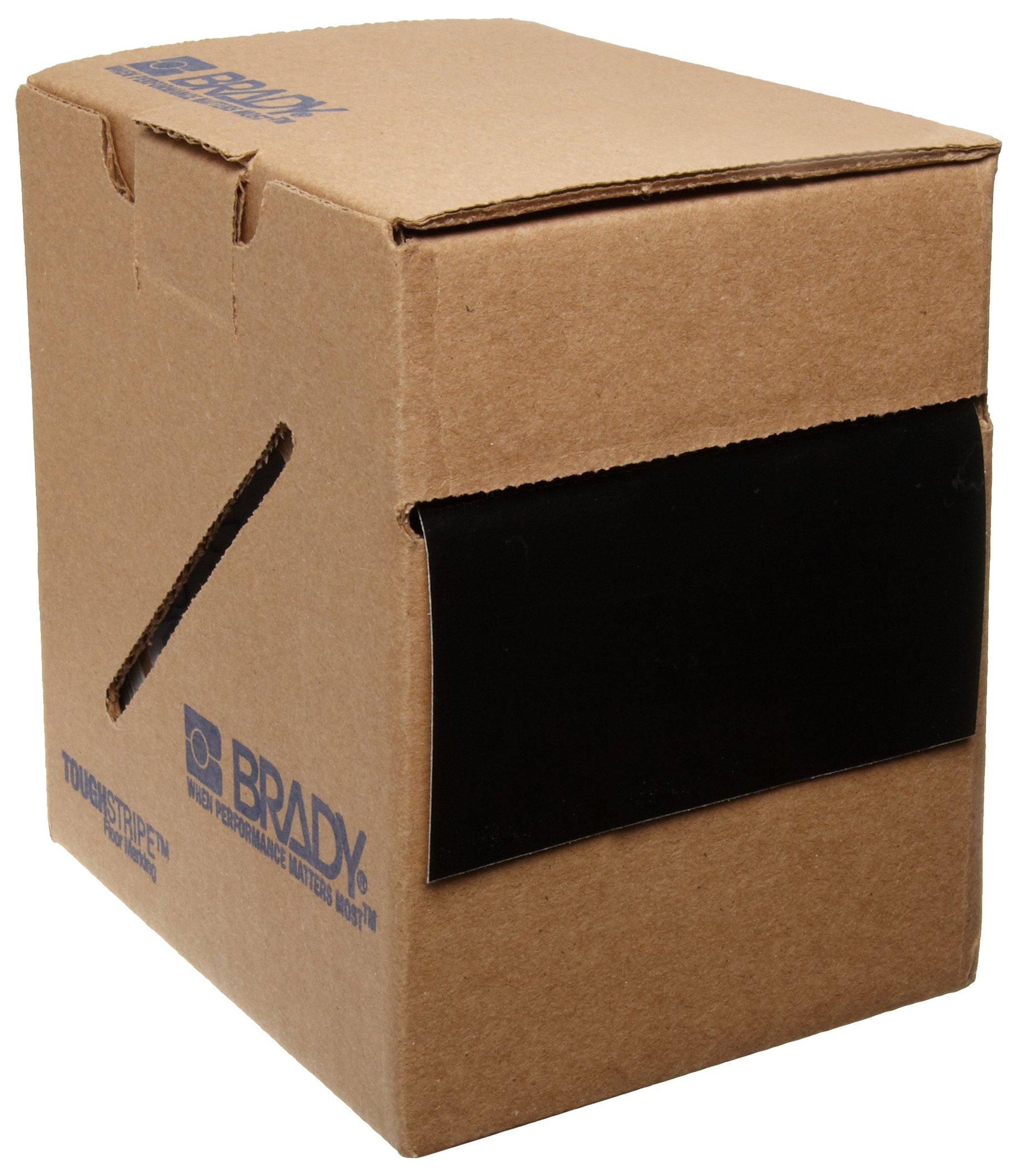 Brady ToughStripe Nonabrasive Floor Marking Tape, 100' Length, 4'' Width, Black (Pack of 1 Roll)