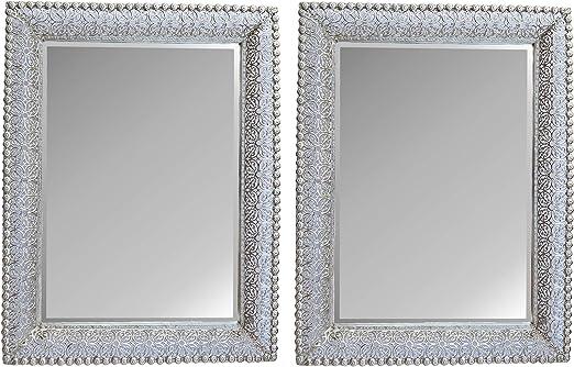 Amazon Com Lulu Decor Lacy Silver Metal Beveled Wall Mirror Frame Size 30 X 22 2 Pcs Home Kitchen