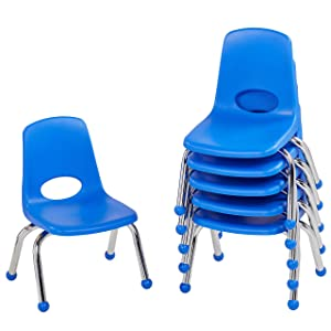"FDP 10"" School Stack Chair, Stacking Student Seat with Chromed Steel Legs and Ball Glides; for in-Home Learning or Classroom - Blue (6-Pack)"