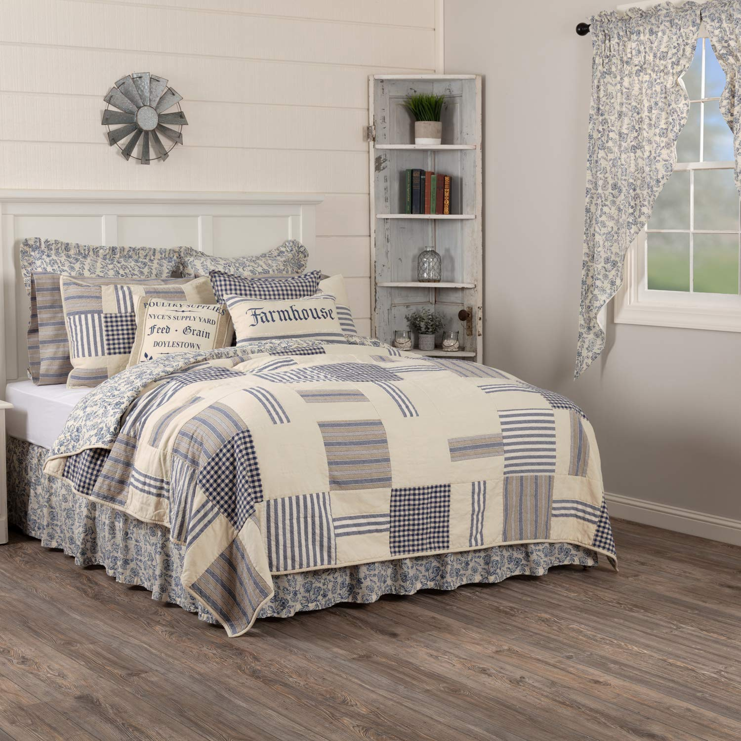 Piper Classics Doylestown Blue Queen Patchwork Quilt, Gingham Checks, Grain Sack & Ticking Stripes, Reversible to Floral Print, Blue & Cream Vintage Farmhouse Bedding, Rustic Country, Cottage Bedroom by Piper Classics (Image #2)