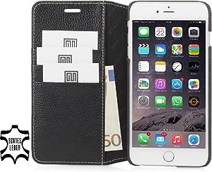 StilGut Talis avec fonction de support, housse portefeuille fine en cuir pour iPhone 6s Plus (5.5 pouces), noir