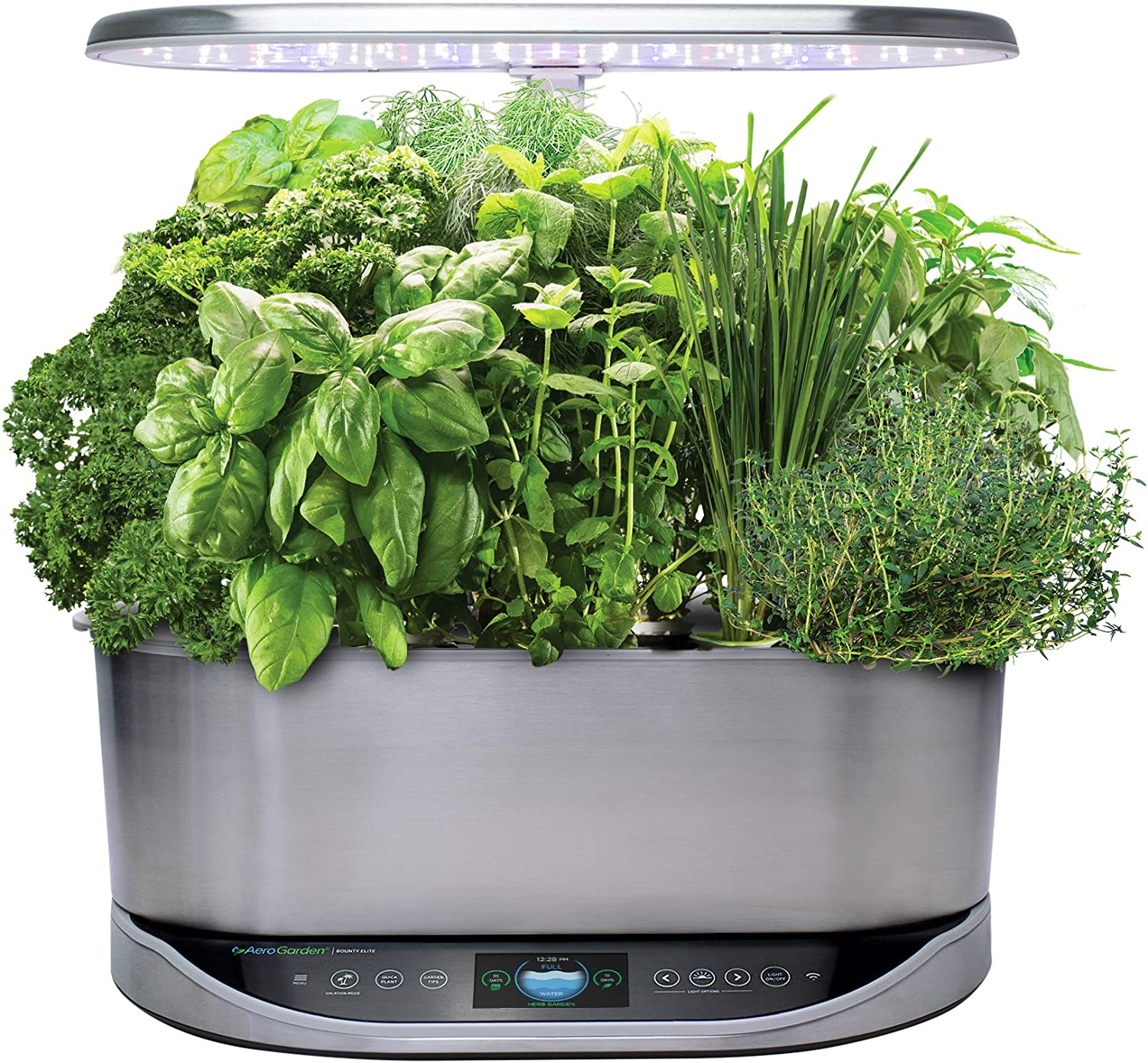 AeroGarden Bounty Elite Indoor Hydroponic Herb Garden, Stainless Steel