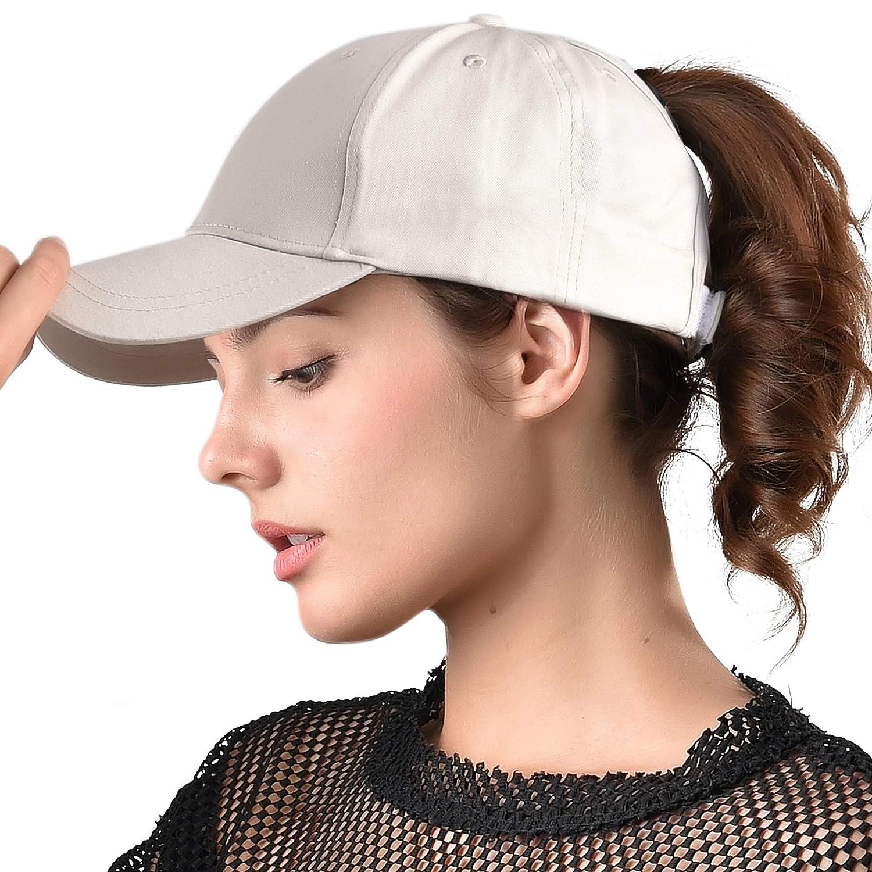 ab7fb9b33 FURTALK Womens Messy High Bun Mesh Baseball Cap Ponytail Hat Adjustable  Cotton Trucker Baseball Cap Dad Hat