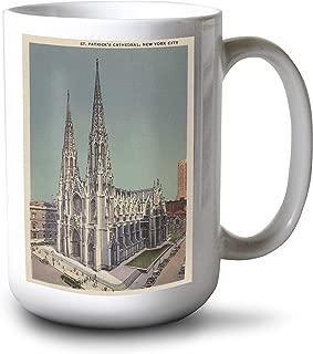product image for Lantern Press New York, NY - St. Patricks Cathedral Surroundings (15oz White Ceramic Mug)