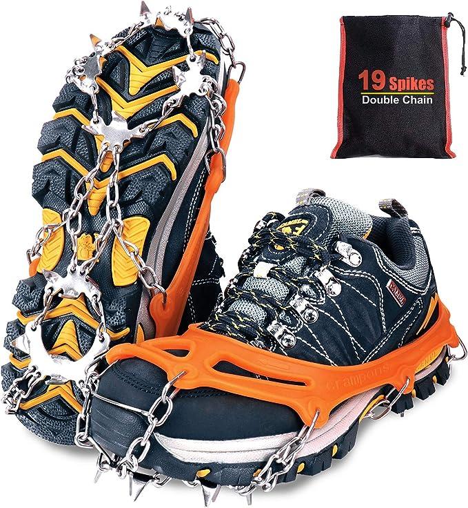 Tevlaphee Crampones,19 Dientes Tacos de tracción Nieve y Hielo Tracción para Invierno Deportes Montañismo Escalada Caminar Alpinismo Cámping Acampada ...