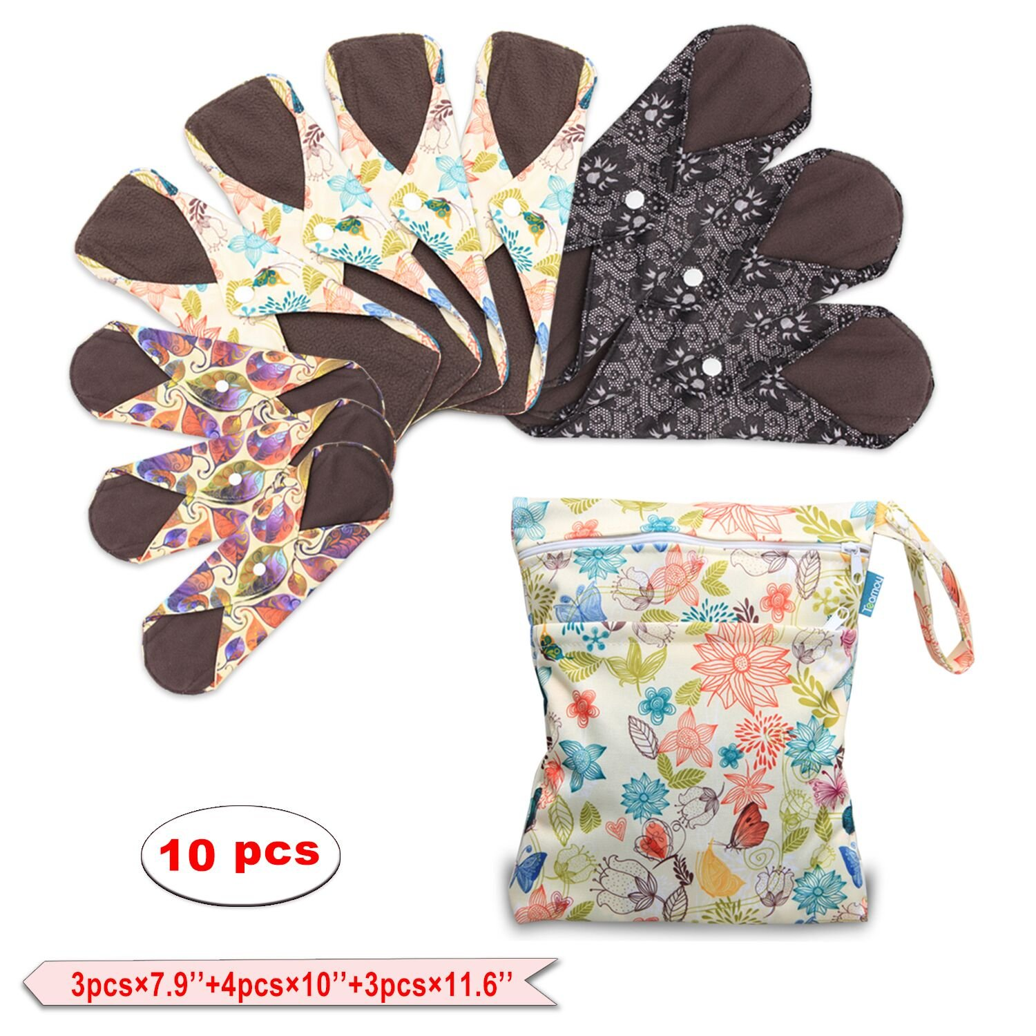 Teamoy 10Pcs Sanitary Pad,Reusable Washable Cloth Menstrual Pads/Panty Liners with Wet Bag, Super-Absorbent, Soft and Comfortable(3pcs×7.9''+4pcs×10''+3pcs×11.6'')