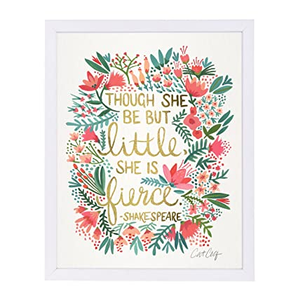 Amazon.com: Americanflat Little and Fierce White Frame Print by Cat ...