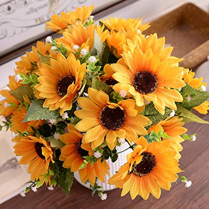 Amazon 4 pack artificial flowers artificial sunflower bouquet 4 pack artificial flowers artificial sunflower bouquet artificial yellow flower bouquet for home wedding flowers floral mightylinksfo