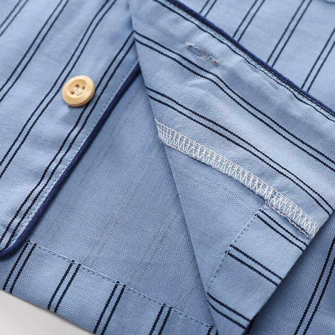 PAUBOLI Boys Button Down Pajamas Set Short Sleeve Organic Cotton Striped Sleepwear Loungewear (6-7 Years) by PAUBOLI (Image #4)