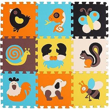 XMTMMD Alfombra de Juego Puzzle–Piezas de Puzzle de Encaje Que Promueven el Desarrollo Sensorial Visual–Alfombra Suave para Niños–9 Azulejos EVA ...