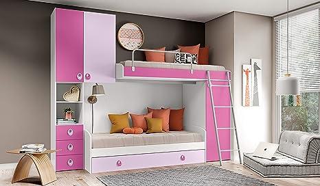 Inhouse Srls Bedroom Hanger White Ash Malva And Purple With Two Beds Bed And Bunk Bed Integral Cupboard Height 236 Length 295 Depth 86 5 Amazon De Kuche Haushalt