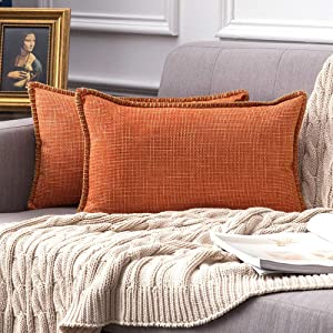 MIULEE Pack of 2 Decorative Throw Pillow Covers Farmhouse Modern Trimmed Cord Linen Burlap Cushion Cases Vintage Decor Pillowcases for Couch Sofa Bedroom 12 x 20 Inch Orange