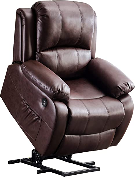 Amazon Com Mcombo Small Sized Electric Power Lift Recliner Chair Sofa With Massage And Heat For Small Elderly People Petite 3 Positions 2 Side Pockets Usb Ports Faux Leather 7409 Small Dark Brown
