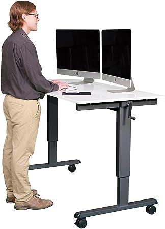Amazoncom 60 Crank Adjustable Height Standing Desk Charcoal