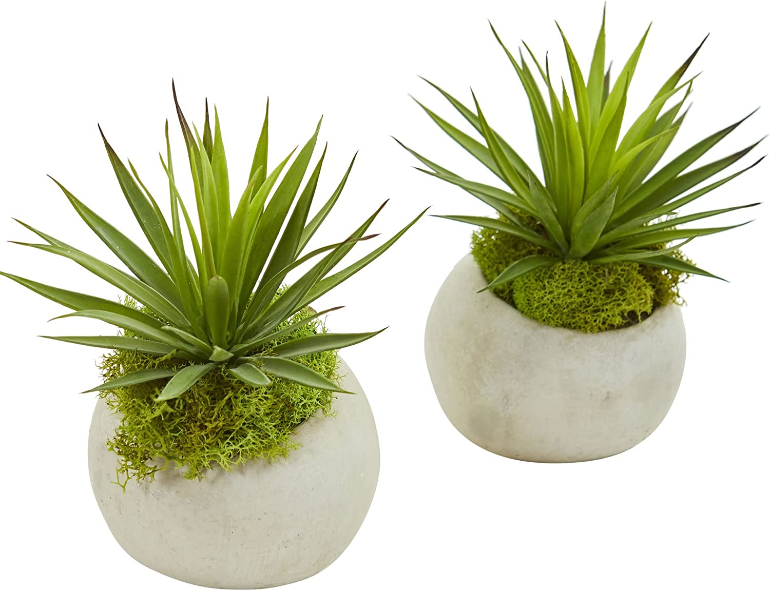 Nearly Natural Spiky Agave Artificial Planter Set Of 2 Silk Plants Green Home Kitchen