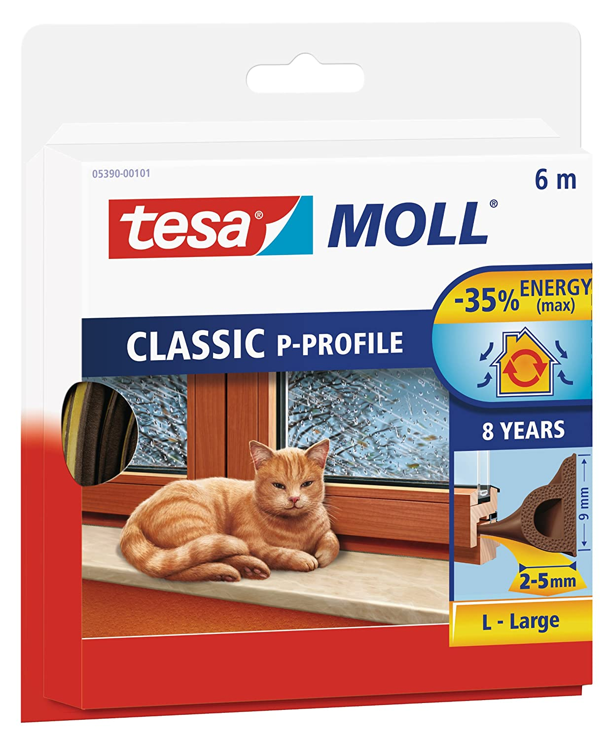 tesa UK P-Profile Draught Excluder for Doors and Widows 6 m x 9 mm - White 05390-00100-00