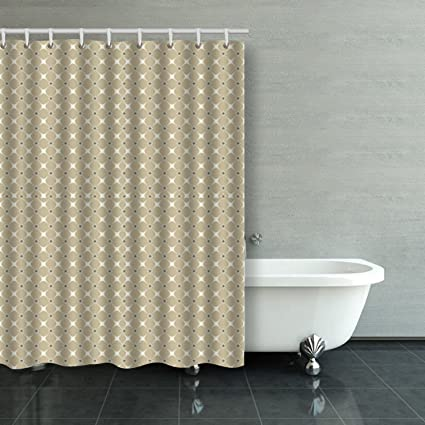 Emvency Shower Curtain Vintage Square Dot Desgin Pattern Polyester Fabric 54x72 Inches Curtains Mildew Resistant