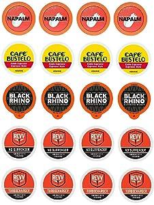 High Octane Variety K-cup Sampler Pack for Keurig 2.0 - Napalm, Café Bustelo Espresso, Black Rhino, Revv No Surrender, & Revv Turbocharger - 20 Count 5 Varieties