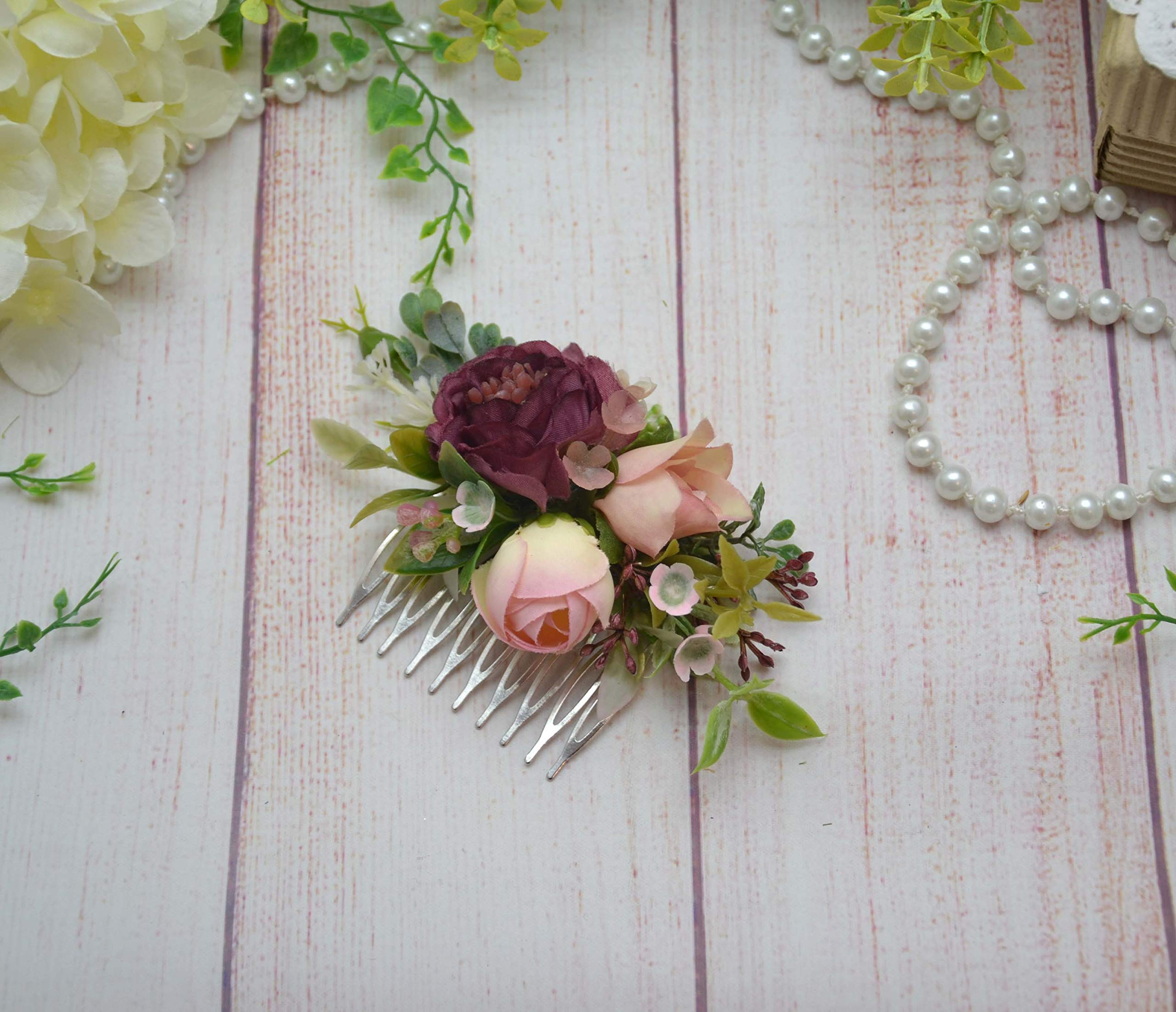 Mauve Blush hair comb Bridal floral comb Wedding flower comb Bidesmaid headpiece Floral hairpiece by OlgasCreativeStudio