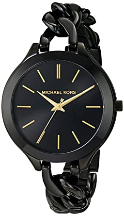 497f019da574 Image Unavailable. Image not available for. Color  Michael Kors Women s  MK3317 - Slim Runway Twist Black
