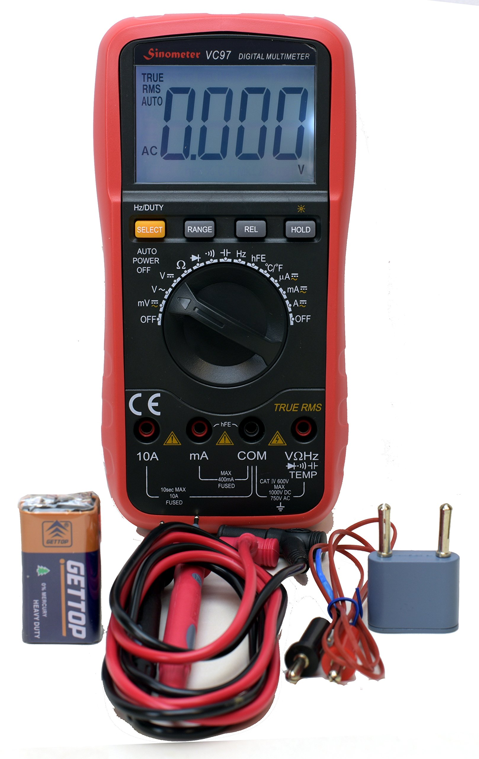 Sinometer VC97 Auto Ranging True RMS Digital Multimeter with Thermometer,Cap and Freq, High Accuracy and Resolution