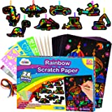 ZMLM Scratch Paper Art-Supply Boy: Magic Craft Rainbow Paper Drawing Kit Black Scratch Off Pad Sheet Toddler Preschool Toy fo