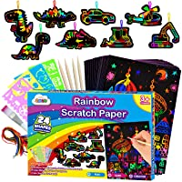 ZMLM Scratch Paper Art-Supply Boy: Rainbow Magic Paper Craft Drawing Kit Black Scratch Off Pad Sheet Toddler Preschool Toy for 3 4 5 6 7 8 9 10 Age Kid Holiday|Party Favor|Birthday|Children's Day Gift