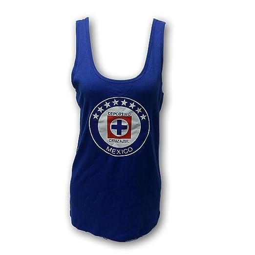 b51b96ccfc8 Cruz Azul FC Soccer Team Women's Ladies Tank Top Muscle Shirt (1X Regular)