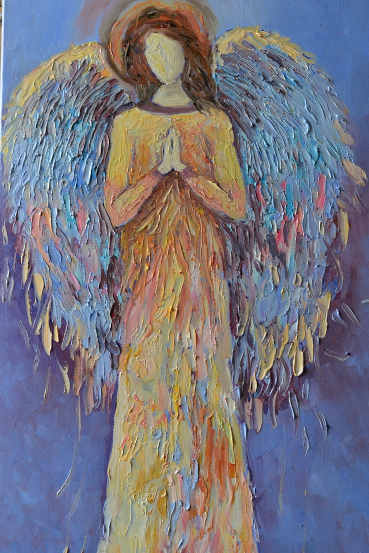 Angel Praying Painting Guardian Angel Wings Artwork on CANVAS Gold Blue Wall Art for Living Room Bedroom Christmas Original Oil Texture 16x32