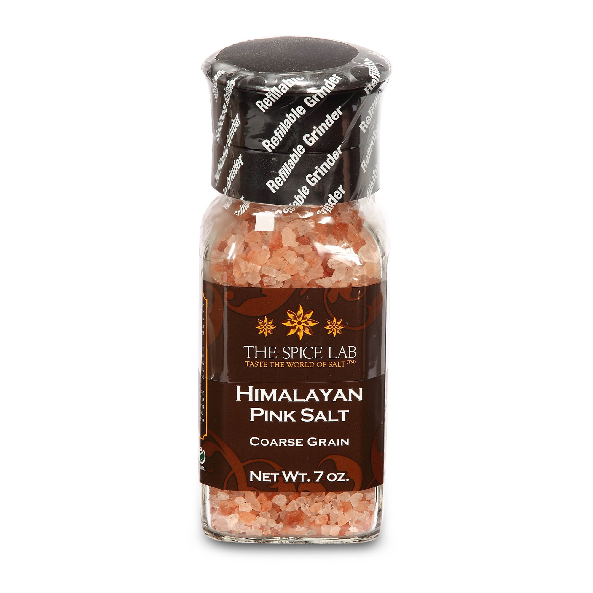 The Spice Lab Pink Himalayan Coarse Salt - Gourmet Pure Crystal - Nutrient and Mineral Fortified for Health - Kosher and Natural Certified - 4.5oz Grinder