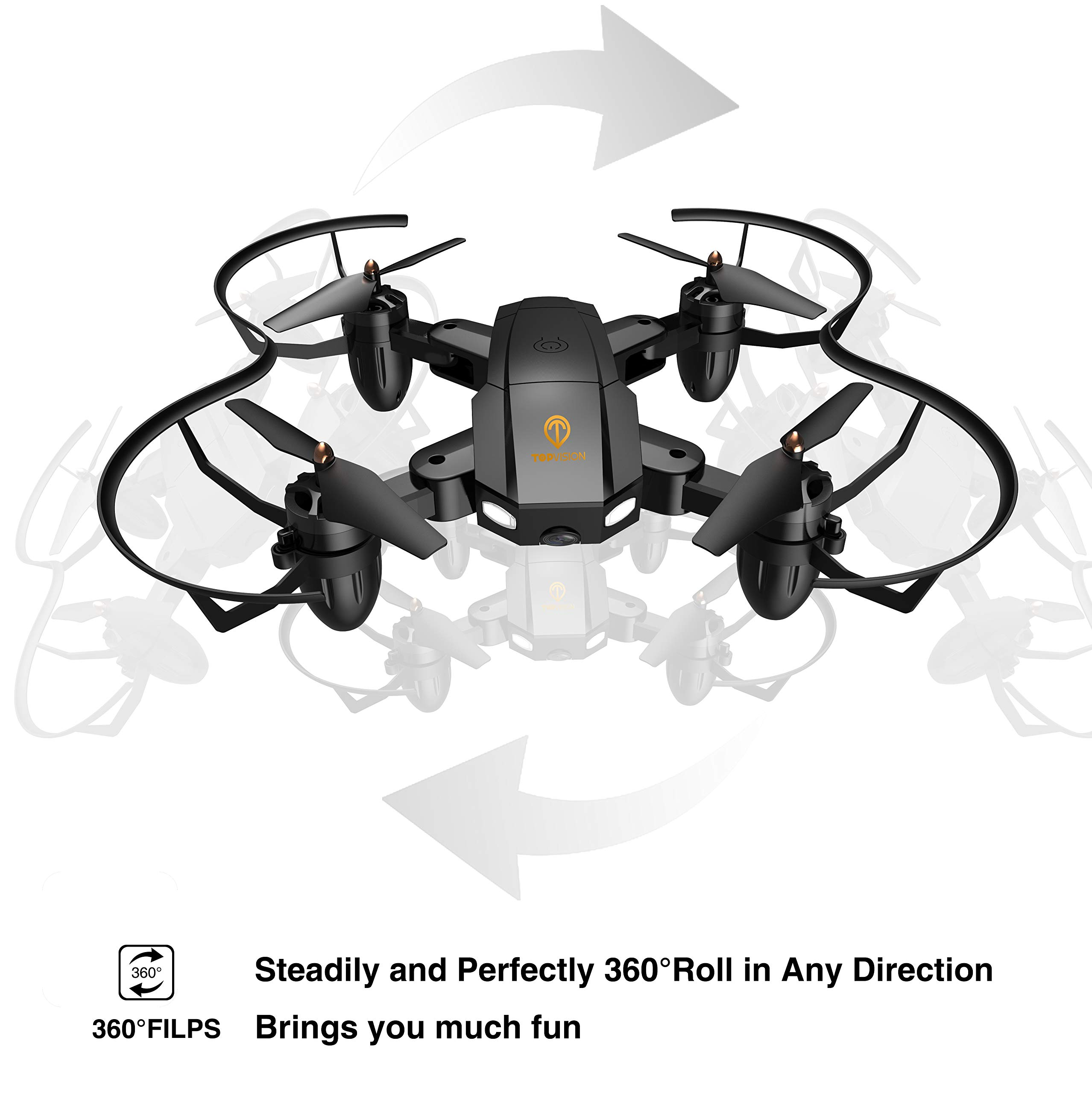 Drone with Camera, TOPVISION Foldable Quadcopter RC Drone with WiFi FPV HD Camera Live Video, Altitude Hold, One Key Start, APP Control, Black by T TOPVISION (Image #7)