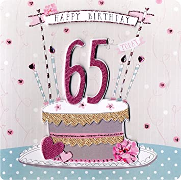 Second Nature Collectable Keepsake Cake And Candles Design 65th Birthday Card For Women