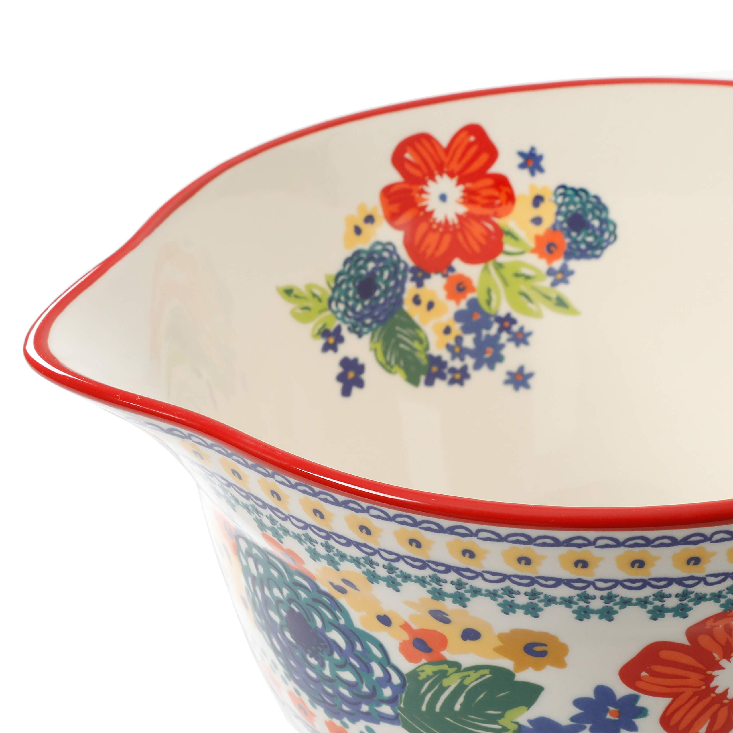 The Pioneer Woman 3.3 Quart Dazzling Dahlias Batter Bowl, 1-Piece bundle with The Pioneer Woman 2-Piece Rectangular Ruffle Top Ceramic Bakeware Set'' by The Pioneer Woman (Image #4)