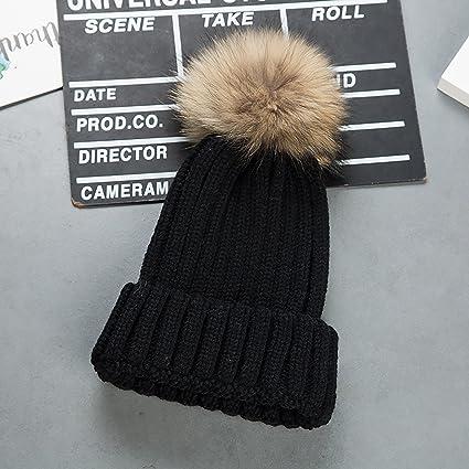 Cappello Invernale Donna Beanie Cappelli di Lana con Pon Pon Berretti da  Pingenaneer (Nero) f8ffde6ba500