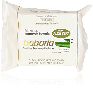 Amazon.com : Babaria Naturals Aloe Vera Make up Remover Towels/Wipes : Face Makeup Removers : Beauty