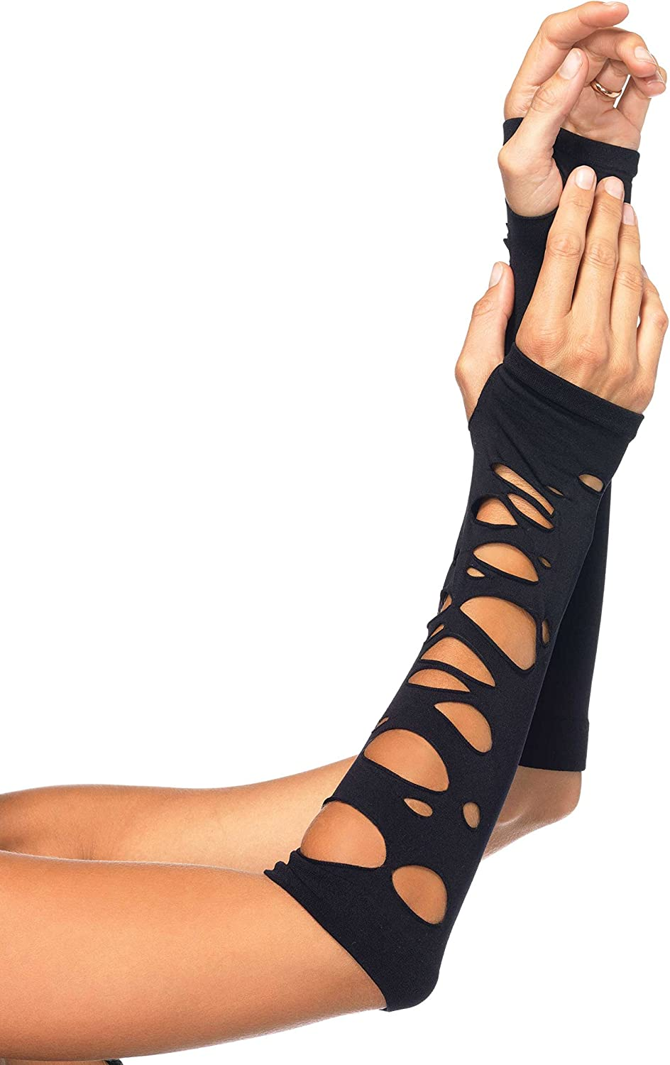 Leg Avenue Women's Distressed Glove Arm Warmers, Black, One Size: Childrens Party Supplies: Clothing