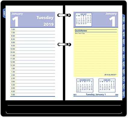 AT-A-GLANCE 2019 Daily Desk Calendar Refill QuickNotes 3-1//2 x 6 E51750 Loose Leaf
